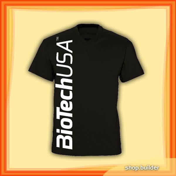 BioTech USA Black V-neck mans T-shirt